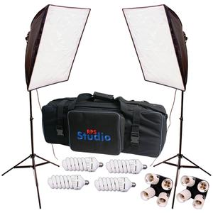 RPS Studio Hybrid Still and Video 20 inch Square Softbox Kit with 2 Softboxes 2 Light Stands Also Includes Case-4-70 W Daylight Lamps and-2-4-in-1 Socket Adapters