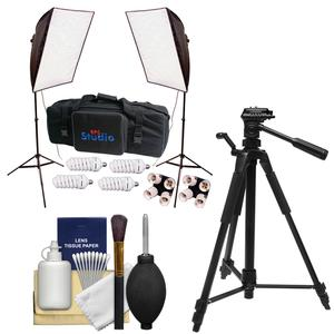 RPS Studio Hybrid Still and Video 20 inch Square Softbox Kit with 2 Softboxes 2 Light Stands with Tripod and Cleaning Kit