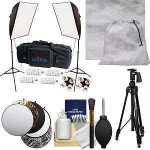 RPS Studio Hybrid Still and Video 20 inch Square Softbox Kit with 2 Softboxes 2 Light Stands with Muslin Background and Tripod and Reflector and Cleaning Kit