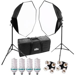 RPS Studio Hybrid Still and Video Lighting Studio Kit-RS-4085-with 2 28x28 Octagon Softboxes 2 Stands 4 Daylight Lamps Socket Adapter and Case