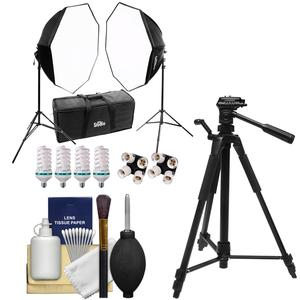 RPS Studio Hybrid Still and Video Lighting Studio Kit-RS-4085-with Tripod and Cleaning Kit