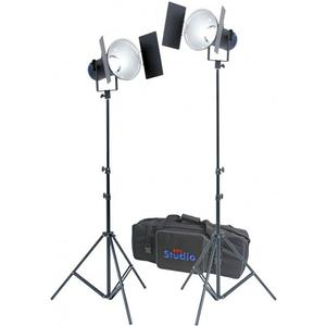 RPS Studio RS-5520 CooLED 50W High Power Light Kit with 2 Heads 2 Reflectors 2 Barn Doors 2 Power Packs 2 Light Stands and Carrying Case