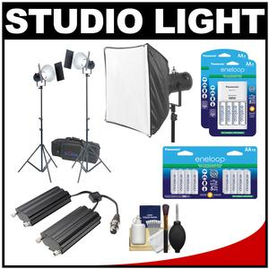 RPS Studio RS-5520 CooLED 50W High Power Light Kit with Softbox and Twin Battery Case and 24 AA Batteries and Charger Kit