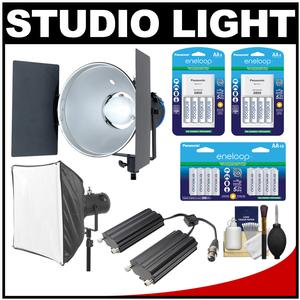 RPS Studio RS-5530 CooLED 50W High Power Light with Softbox and RS-5560 Aluminum Twin Battery Case and 24 AA Batteries and Charger Kit