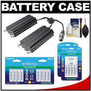 RPS Studio RS-5560 Aluminum Twin Battery Case for CooLED50 Power Light with 24 AA Batteries and Charger Kit