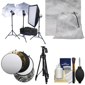 RPS Studio 600 Watt-Second SB-200 Monolite Studio Kit-RS-SB-DLK3-with Muslin Background and Pistol Grip Tripod and Reflector and Kit