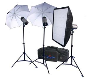 RPS Studio 600 Watt-Second SB-200 Monolite Studio Kit-RS-SB-DLK3-3 Strobes 2 Umbrellas 1 Soft Box 3 Stands PC Cords Wireless Flash Trigger and Case