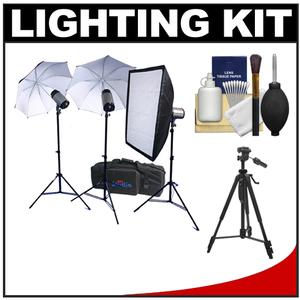RPS Studio 600 Watt-Second SB-200 Monolite Studio Kit-RS-SB-DLK3-3 Strobes and Stands 2 Umbrellas Soft Box PC Cords Wireless Flash Trigger Case and Tripod