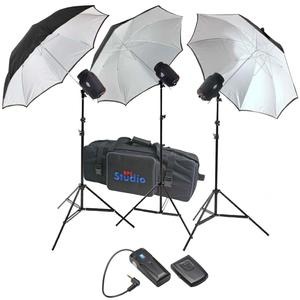 RPS Studio 540 Watt-Second SB-180 Monolite Studio Kit-RS-SB-SLK3-3 Strobes 3 Umbrellas 3 Stands PC Cords Infrared Trigger and Case