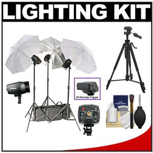 RPS Studio 540 Watt-Second SB-180 Monolite Studio Kit-RS-SB-SLK3-3 Strobes 3 Umbrellas 3 Stands PC Cords Infrared Trigger Case and Tripod and Cleaning Kit