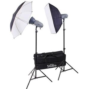 RPS Studio RS-SR300DK 600 Watt - Second Portable 2-Monolite Lighting Kit with 2 Strobes and Reflectors 1 Softbox 1 Umbrella 2 Stands Infrared Trigger and Case