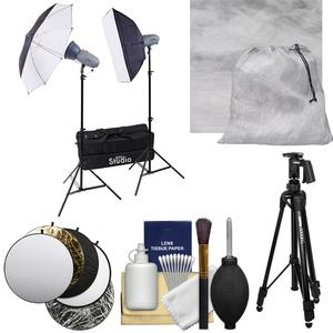 RPS Studio RS-SR300DK 600 Watt-Second Portable 2-Monolite Lighting Kit with Muslin Background and Reflector and Tripod and Cleaning Kit