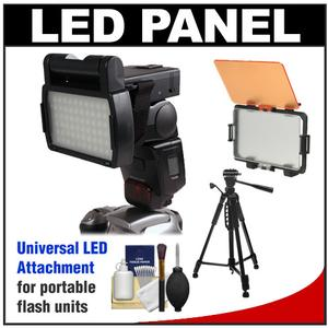 RPS Studio LED Video Light Panel Attachment for Portable Flash with Diffuser Filter Set + Tripod + Cleaning Kit