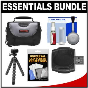 Essentials Bundle for Samsung HMX-F90 Q20 QF20 QF30 HD Camcorder with Case and Flex Tripod and Accessory Kit