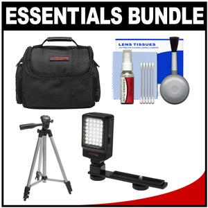 Essentials Bundle for Samsung HMX-F90 Q20 QF20 QF30 HD Camcorder with Case and LED Light and Tripod and Cleaning Kit