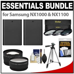 Essentials Bundle for Samsung NX1000 & NX1100 Digital Camera and 20-50mm Lens with 2 BP1030 Batteries + 3 UV/CPL/ND8 Filters + Tripod + Tele/Wide Lenses Kit