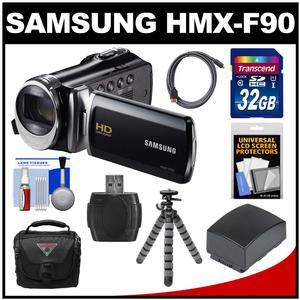 Samsung HMX-F90 HD Digital Video Camcorder (Black) with 32GB Card + Battery + Case + Flex Tripod + Kit