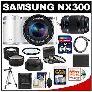 Samsung NX300 Smart Wi-Fi Digital Camera Body & 18-55mm Lens (White) with 50-200mm Lens + 64GB Card + Case + Battery + Tripod + HDMI Cable + Tele/Wide Lens Kit