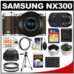 Samsung NX300 Smart Wi-Fi Camera + 20-50 Lens (Brown) + 50-200 Lens + 32GB + Case + Battery + Tripod + HDMI Cable + Tele/Wide Lens Kit at Sears.com