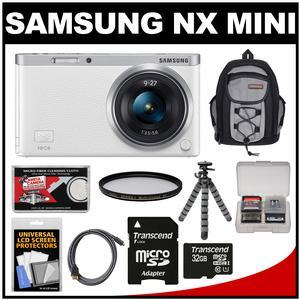 Samsung NX Mini Smart Wi-Fi Digital Camera with 9-27mm Lens & Flash (White) with 32GB Card + Backpack + Filter + Flex Tripod + Accessory Kit