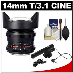 Samyang 14mm T/3.1 Cine Manual Focus Wide Angle Lens (for Video DSLR Nikon Cameras) with Microphone + Bracket + Cleaning Kit at Sears.com