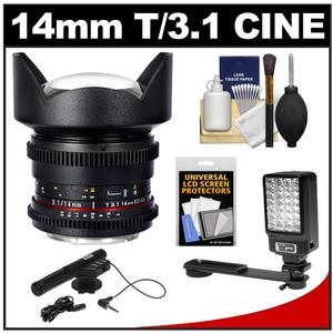 Samyang 14mm T/3.1 Cine Manual Focus Wide Angle Lens (for Video DSLR Nikon Cameras) + Microphone + LED Light + Bracket + Acc Kit at Sears.com