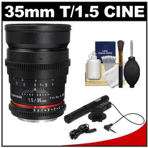 Samyang 35mm T/1.5 Cine Manual Focus Wide Angle Lens (for Video DSLR Sony Alpha Cameras) + Microphone + Bracket + Cleaning Kit at Sears.com