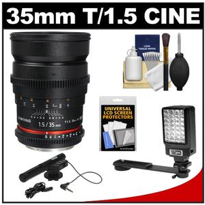 Samyang 35 T/1.5 Cine Manual Focus Wide Angle Lens for Canon Cameras + Microphone + LED Light + Bracket + Acc Kit at Sears.com