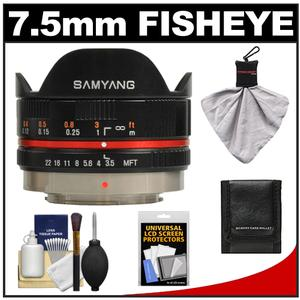 Samyang 7.5mm f/3.5 UMC Fisheye Manual Focus Lens (for Micro 4/3 Olympus Pen/OM-D) (Black) with Cleaning + Accessory Kit at Sears.com