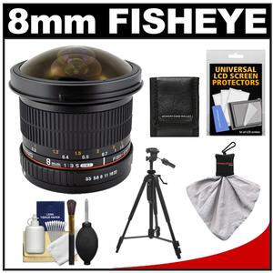 Samyang 8mm f/3.5 Manual Focus Fisheye II Lens w/ Detachable Hood (for Sony Alpha Cameras) with Tripod + Accessory Kit at Sears.com