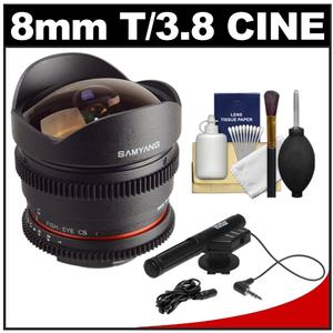 Samyang 8mm T/3.8 Fisheye Cine Manual Focus Lens (for DSLR Video Canon EOS Cameras) with Microphone + Bracket + Cleaning Kit at Sears.com