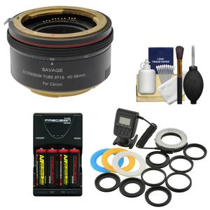 Savage Macro Art Variable Auto-Extension Tube - for Canon EOS Cameras - with Macro Ring Light + Batteries and Charger + Kit
