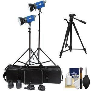 Savage LED2000K 2000 Watt LED 2 Studio Light Kit with 2 Lights 2 Stands 2 Reflectors and Case and Tripod and Kit