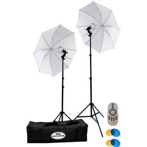 Savage LED60K 500 Watt LED Studio Light Kit with 2 Lights 2 Stands 2 Umbrellas and Case with Remote Control and - 2 - Warming-Cooling Domes