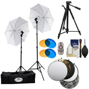 Savage LED60K 500 Watt LED Studio Light Kit with 2 Lights 2 Stands 2 Umbrellas and Case with Remote + Warming and Cooling Domes + Collapsible Reflector Disks + Tripod + Kit