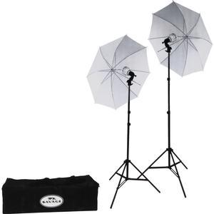 Savage LED60K 500 Watt LED Studio Light Kit with 2 Lights 2 Stands 2 Umbrellas and Case