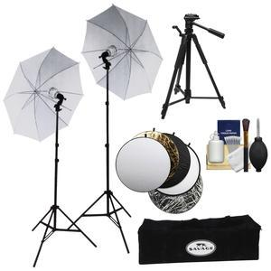 Savage LED60K 500 Watt LED Studio Light Kit with 2 Lights 2 Stands 2 Umbrellas and Case with Collapsible Reflector Disks and Tripod and Kit