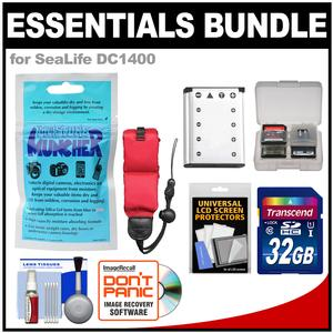 Essentials Bundle for SeaLife DC1400 HD Underwater Digital Camera with Silica Gel + 32GB Card + Battery + Floating Strap + Accessory Kit