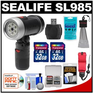 SeaLife SL985 Sea Dragon 1200 Underwater Photo-Video Dive Light with Flex-Connect Handle with - 2 - 32GB Cards + Floating Starp + Silica Gel + Accessory Kit