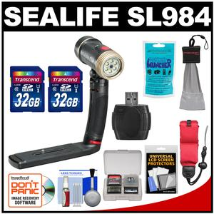 SeaLife SL984 Sea Dragon 2000 Photo Underwater Photo-Video Light with Standard Tray with - 2 - 32GB Cards + Floating Starp + Silica Gel + Accessory Kit