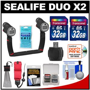 SeaLife Sea Dragon Duo X2 Underwater Flash Set with Dual Tray and Grips with - 2 - 32GB Cards + Floating Strap + Accessory Kit
