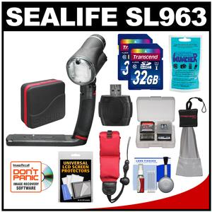 SeaLife SL963 Sea Dragon Underwater Flash with Head Grip Single Tray and Diffuser with 2 32GB Cards and Case and Accessory Kit