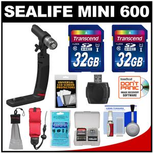 SeaLife Sea Dragon Mini 600 Underwater LED Light Micro Kit with Grip plus Adapters GoPro and YS + - 2 - 32GB Cards + Reader + Float Strap + Kit