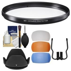 Sigma 77mm WR Ceramic Protector Filter with Tulip Lens Hood + Flash Diffuser Set + Kit