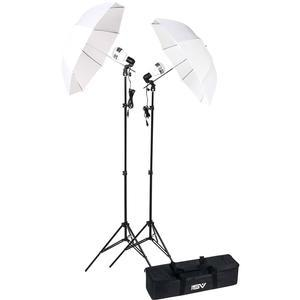 Smith-Victor KT750LED 750 Watt 2 LED Video Lights Stands and Umbrellas Studio Kit and Case
