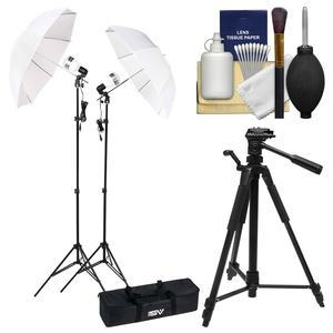 Smith-Victor KT750LED 750 Watt 2 LED Video Lights Stands and Umbrellas Studio Kit and Case with Tripod + Cleaning Kit