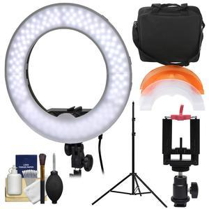 Smith-Victor 13.5 inch LED Ring Light and Case with Smartphone Mounting Adapter and Ball Head + Light Stand + Kit