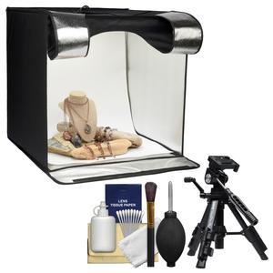 Smith-Victor 15.5 inch Desktop LED Light Box Studio Tent with Turntable 4 Backgrounds and Case with Macro Tripod + Cleaning Kit
