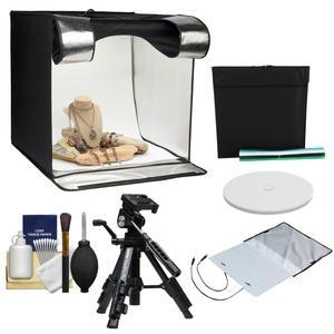 Smith-Victor 24 inch Desktop LED Light Box Studio Tent with Turntable 4 Backgrounds and Case with Macro Tripod + Cleaning Kit