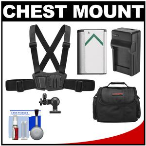 Sony AKA-CMH1 Chest Mount Harness for Action Cam with NP-BX1 Battery + Charger + Case + Accessory Kit